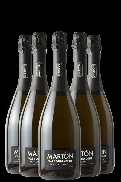 6 Bottiglie Prosecco Superiore Di Valdobbiadene DOCG Extra Dry Martòn
