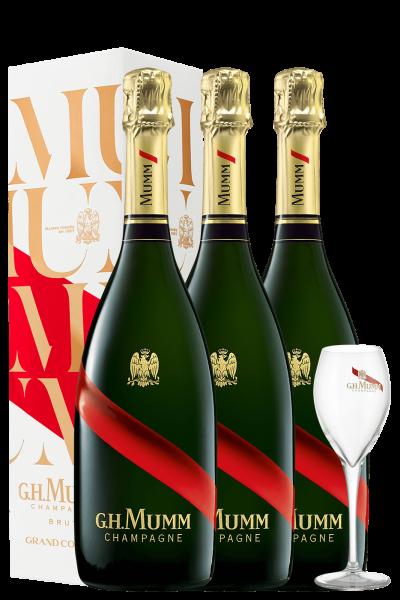 3 Bottiglie Champagne Grand Cordon Brut Mumm 75cl (Astucciato) + 2 Calici Mumm