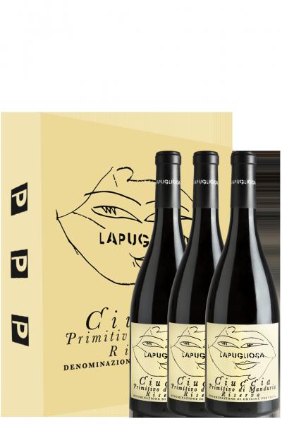 3 bottiglie Primitivo Di Manduria DOP Riserva Ciuccia 2015 La Pugliosa (In Astuccio)