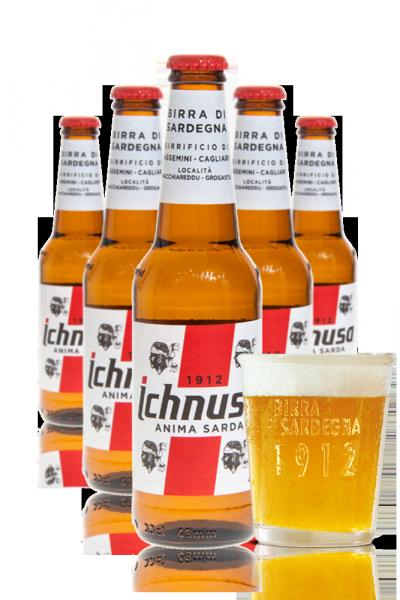2 Casse di Ichnusa da 24 bottiglie x 33cl + OMAGGIO 6 bicchieri 20cl