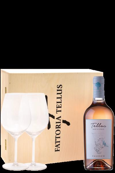 Cofanetto 1 Bottiglia Tellus Rosè Di Syrah 2019 Falesco + 2 Calici