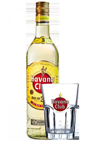 Rum Havana Club 3 Anni 1Litro + 1 Bicchiere Havana Granity OMAGGIO