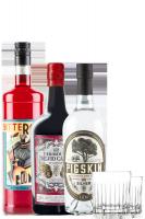 1 Bitter Roma Rosso 1Litro + 1 Vermouth Di Sardegna Silvio Carta 75cl + 1 Gin Pigskin Silver + 2 Bicchieri Aperitivo