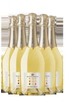 6 Bottiglie Vino Spumante Shãh Mat Bianco Extra Dry Maschio Dei Cavalieri