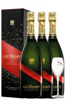 3 Bottiglie Champagne Grand Cordon Brut Mumm 75cl + 6 Calici
