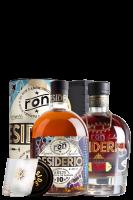 Ron Desiderio 10 Anni 70cl (Astucciato) + 1 Ron Desiderio XO 70cl (Cassetta in Legno) + 2 Bicchieri + 2 Sottobicchieri