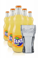 Fanta Vetro 33cl: Confezione da 24 Bottiglie + 6 Bicchieri Coca-Cola 50cl
