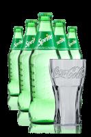 Sprite Vetro 33cl: Confezione da 24 Bottiglie + 6 Bicchieri Coca-Cola 50cl